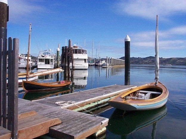 The Arques School's collection of small boats looking out onto Richardson Bay.
