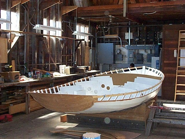 July,2008. Loon in cradle ready to receive bulkheads and decking.